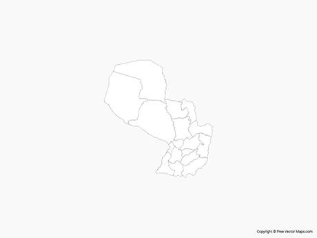 Free Vector Map of Paraguay with Departments - Outline