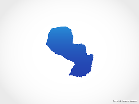 Free Vector Map of Paraguay - Blue
