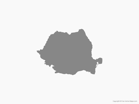 Free Vector Map of Romania - Single Color