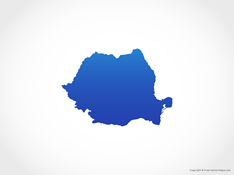 Free Vector Map of Romania - Blue