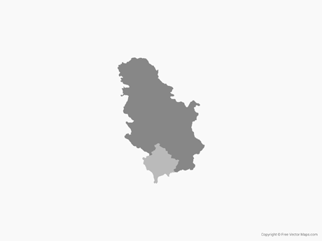 Free Vector Map of Serbia & Kosovo - Single Color