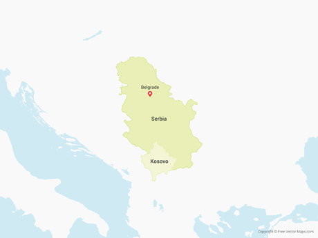 Free Vector Map of Serbia & Kosovo