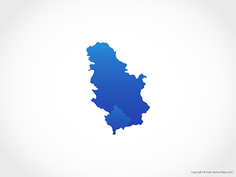 Free Vector Map of Serbia & Kosovo - Blue