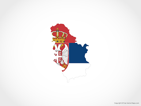 Free Vector Map of Serbia - Flag