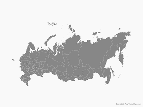Free Vector Map of Russia with Regions - Single Color