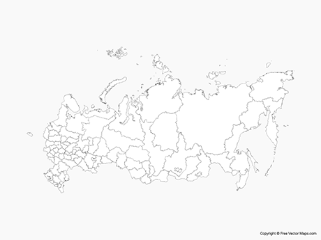 Map of Russia with Regions - Outline