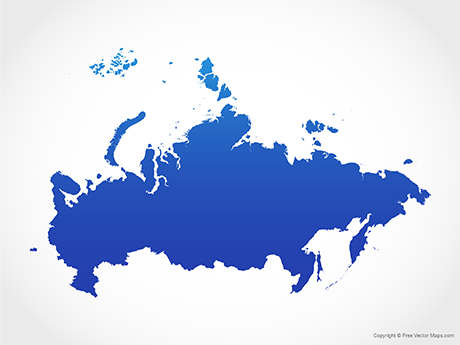 Free Vector Map of Russia - Blue