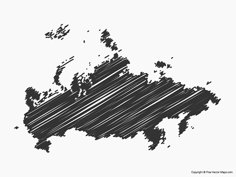 Free Vector Map of Russia - Sketch