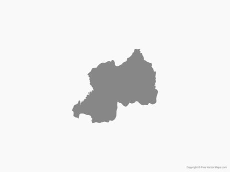 Free Vector Map of Rwanda - Single Color