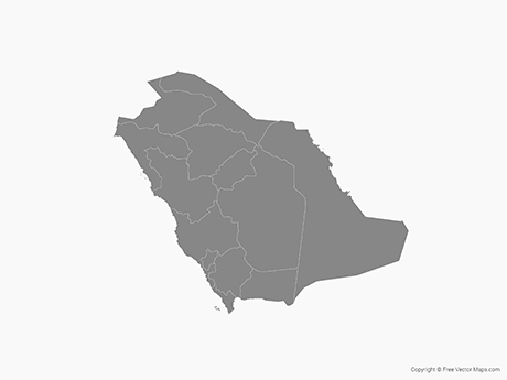 Free Vector Map of Saudi Arabia with Regions - Single Color