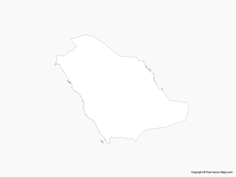 Free Vector Map of Saudi Arabia - Outline