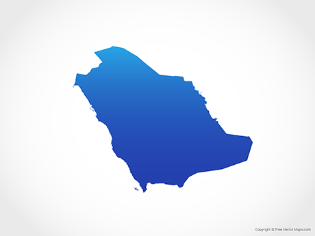 Free Vector Map of Saudi Arabia - Blue