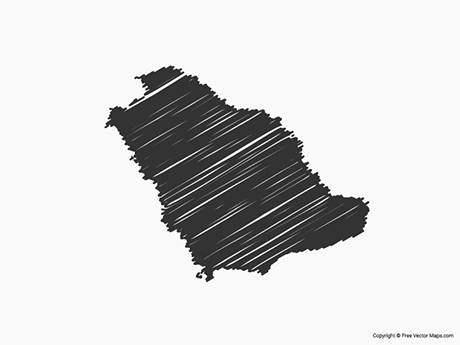 Free Vector Map of Saudi Arabia - Sketch