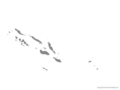 Free Vector Map of Solomon Islands with Provinces - Single Color