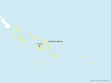 Free Vector Map of Solomon Islands with Provinces