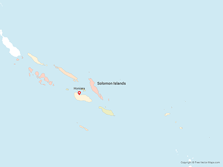 Free Vector Map of Solomon Islands with Provinces - Multicolor