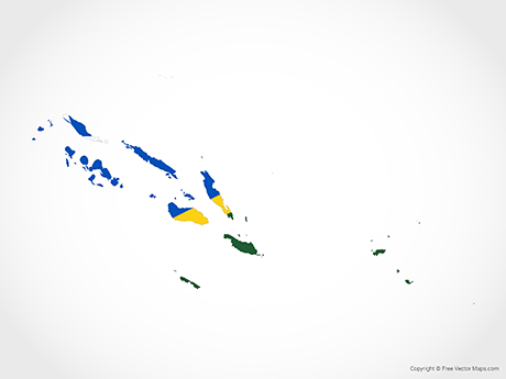 Free Vector Map of Solomon Islands - Flag