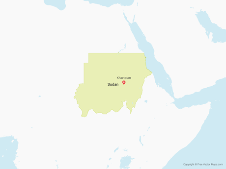Free Vector Map of Sudan