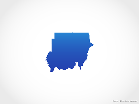 Free Vector Map of Sudan - Blue