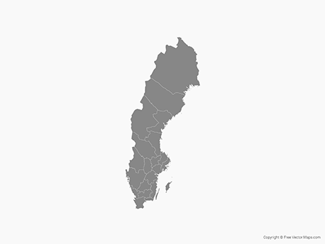 Free Vector Map of Sweden with Counties - Single Color