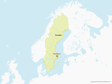 Free Vector Map of Sweden with Counties