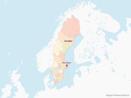 Free Vector Map of Sweden with Counties - Multicolor
