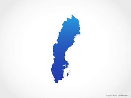 Free Vector Map of Sweden - Blue