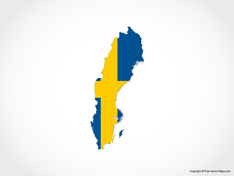 Free Vector Map of Sweden - Flag