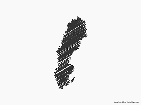 Free Vector Map of Sweden - Sketch