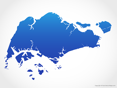 Free Vector Map of Singapore - Blue