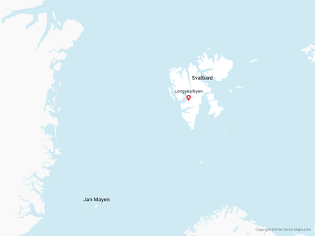 Free Vector Map of Svalbard and Jan Mayen