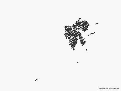 Free Vector Map of Svalbard and Jan Mayern - sketch