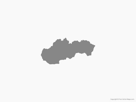 Free Vector Map of Slovakia - Single Color