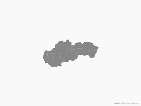 Free Vector Map of Slovakia with Regions - Single Color
