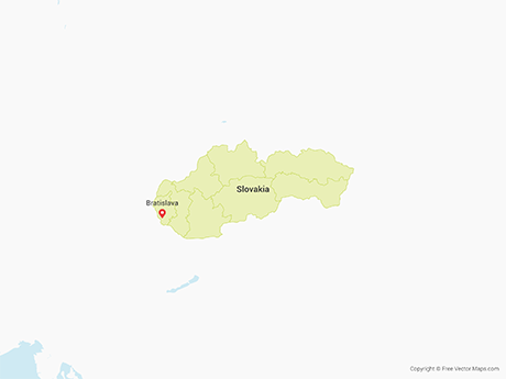 Free Vector Map of Slovakia with Regions