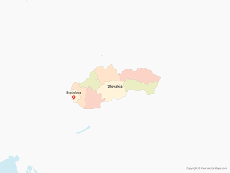Free Vector Map of Slovakia with Regions - Multicolor