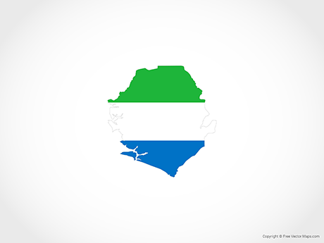 Free Vector Map of Sierra Leone - Flag