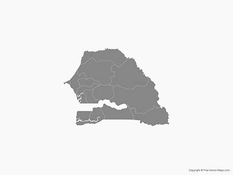 Free Vector Map of Senegal with Regions - Single Color