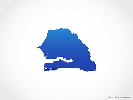 Free Vector Map of Senegal - Blue