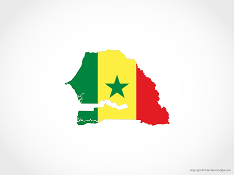 Free Vector Map of Senegal - Flag