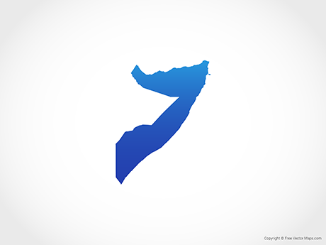 Free Vector Map of Somalia - Blue