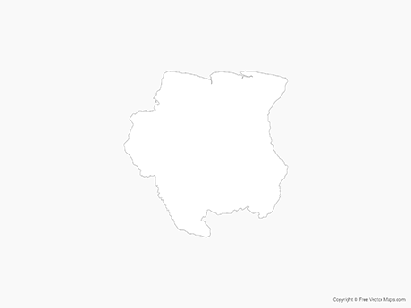 Free Vector Map of Suriname - Outline