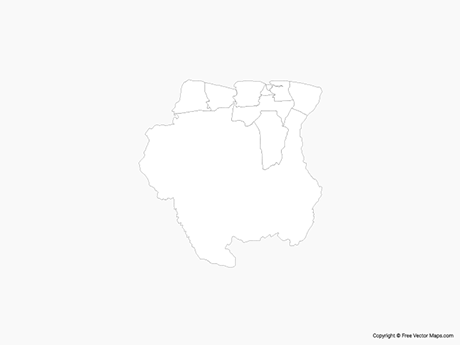 Free Vector Map of Suriname with Districts - Outline
