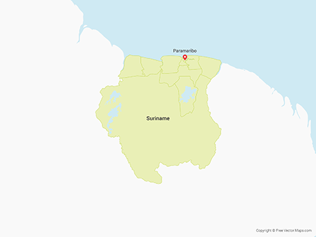 Free Vector Map of Suriname with Districts