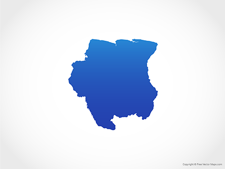 Free Vector Map of Suriname - Blue