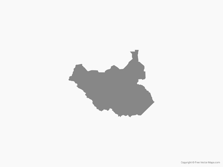 Free Vector Map of South Sudan - Single Color
