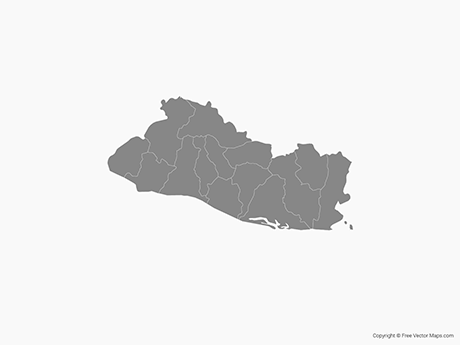 Free Vector Map of El Salvador with Departments - Single Color