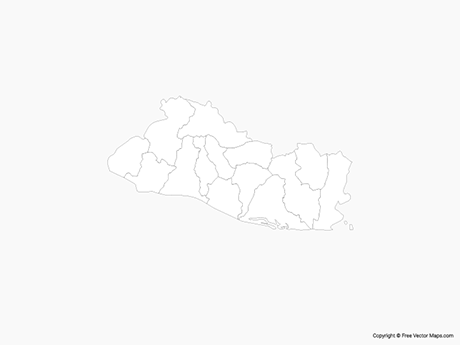 Free Vector Map of El Salvador with Departments - Outline