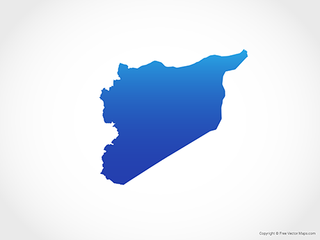 Free Vector Map of Syria - Blue