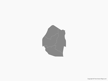 Free Vector Map of Swaziland with Districts - Single Color